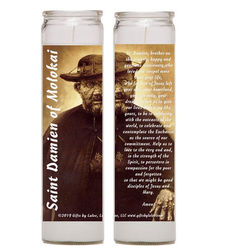Saint Damien Damian of  Molokai leper priest Set of 2 - 4 candles with prayer card  Joseph De Veuster Hawaii  Belgium