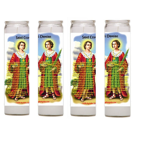 Saints Cosmas and Damian Set of Two 2 or 4 Glass Candles with Prayer  or Candles with prayer card