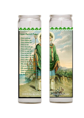 St Patrick Set of 2 Candles Primary Patron Saint of Ireland with Prayer on Back