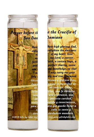 Prayer Before the Crucifix of San Damiano Francis of Assisi Set of 2 - 4 candles with prayer card