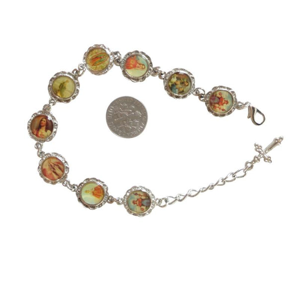 Religious Silver Plated Over Anodized Base Charm Catholic Bracelet with Nine Little Color Saints Medals and Tiny Cross