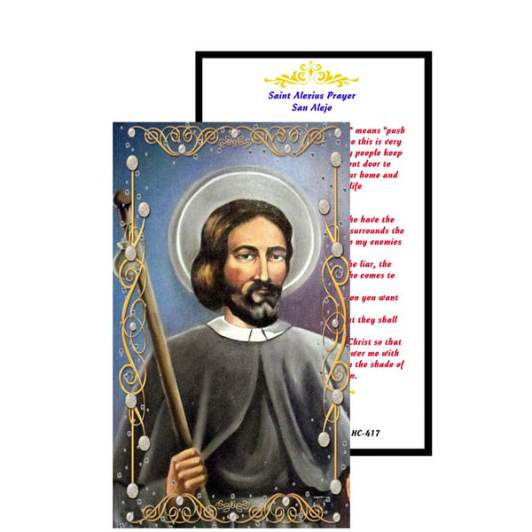Saint Alexius  Alexis of Rome Prayer to keep away your enemies Patron Beggars Nurses Belt Makers Laminated Prayer Card Imported from Italy