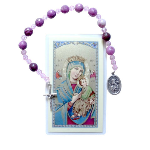 Our Lady of the Perpetual Rosary Chaplet w/ Laminated Prayer Card J-1170