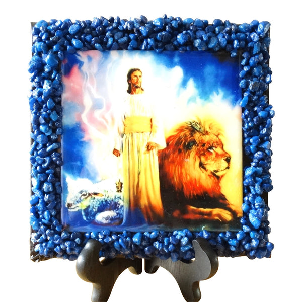 Lion and Lamb Plaque with John 1.29 verses 7 x 7 Perfect for small places  (X-1110)