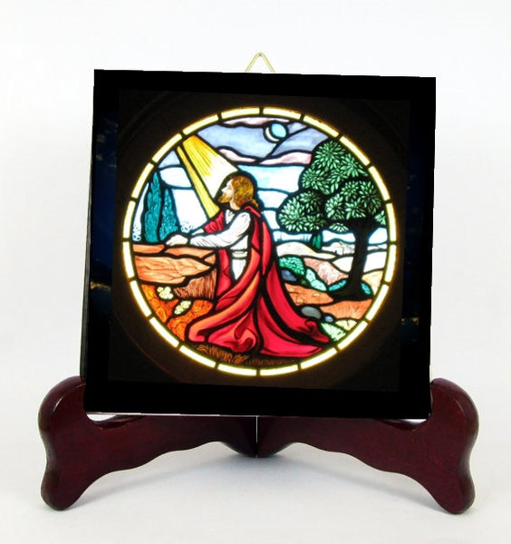 Gethsemane The Mount of Olives Our Lord Jesus Christ Stained Glass Style Porcelain Tile Plaque Ready for Hanging T299
