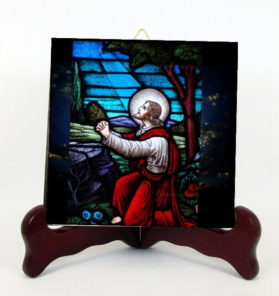 Gethsemane The Mount of Olives Our Lord Jesus Christ Stained Glass Style Porcelain Tile Plaque Ready for Hanging T300