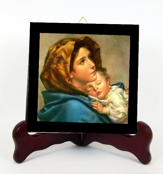 Madonna and Child Contemporary Style Porcelain Tile Plaque Ready for Hanging Lady of the Street T305