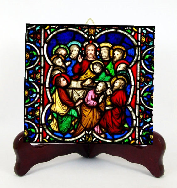 The Last Supper Contemporary Style Porcelain Tile Plaque Ready for Hanging T302