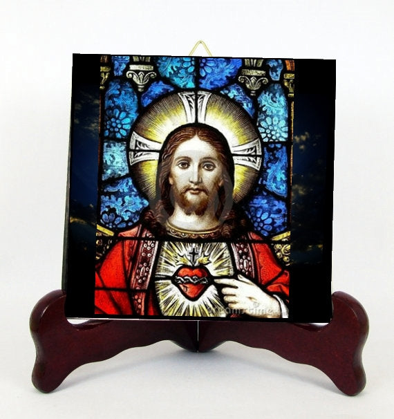 Sacred Heart of Jesus Contemporary Style Porcelain Tile Plaque Ready for Hanging T290+HC280