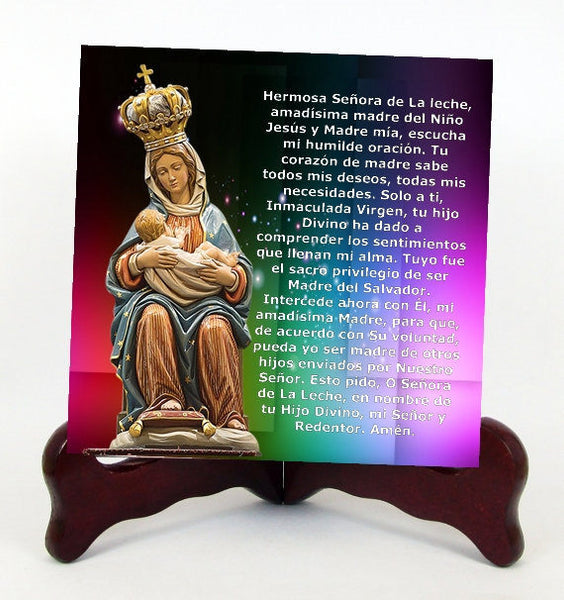 Our Lady of La Leche Nuestra Senora de La Leche Contemporary Style Porcelain Tile Plaque Ready for Hangin English or Spanish  Holy Card