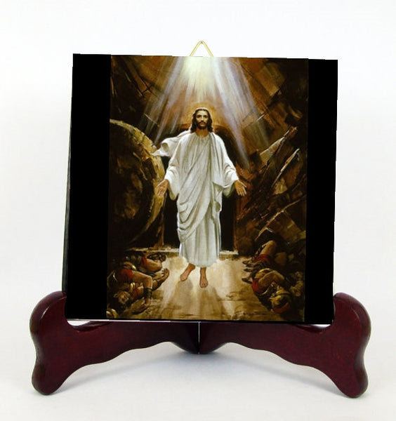 Our Lord Jesus Christ Triumph Over Death Contemporary Style Porcelain Tile Plaque Ready for Hanging Interior Exterior T295+HC213