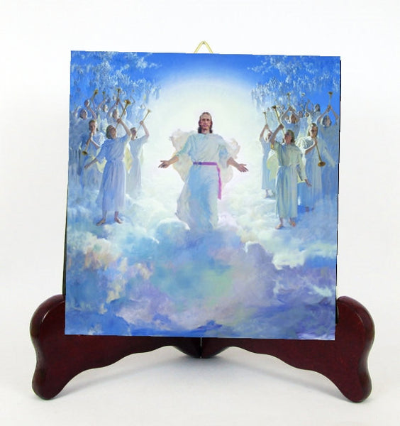 Ascension into Heaven of Our Lord Jesus Christ Contemporary Style Porcelain Tile Plaque Ready for Hanging T294+HC213