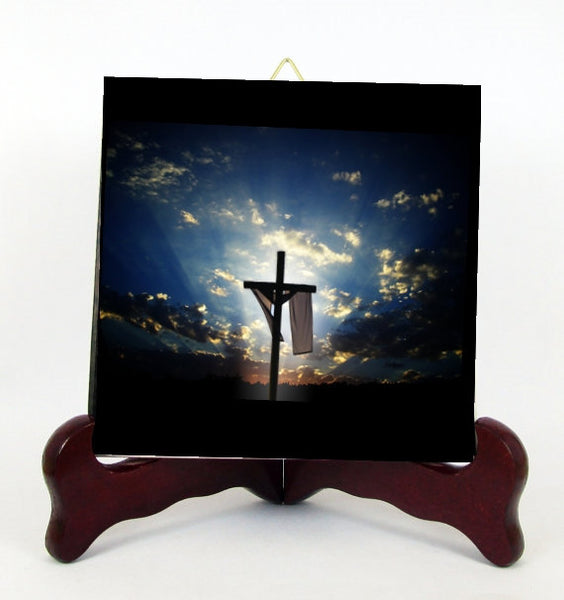 The Cross in the Horizon Contemporary Style Porcelain Tile Plaque Ready for Hanging T293+HC193