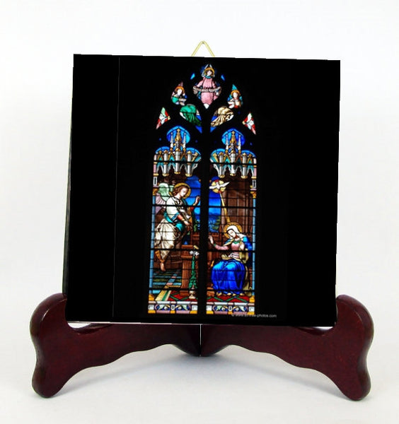 The Annunciation to The Blessed Virgin Mary Porcelain Tile Plaque Ready for Hanging  T287+HC119