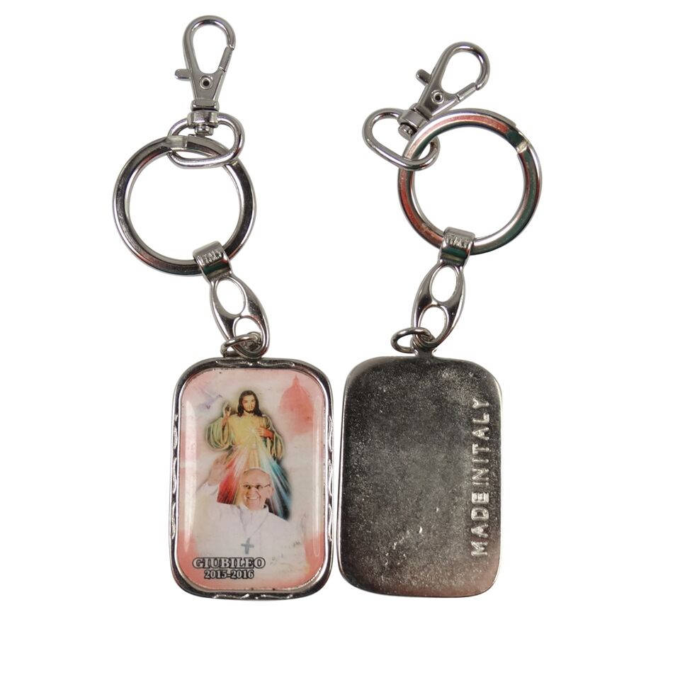 Jubilee Year Divine Mercy and Pope Francis Cold Rolled Steel Key Chain with Color Image