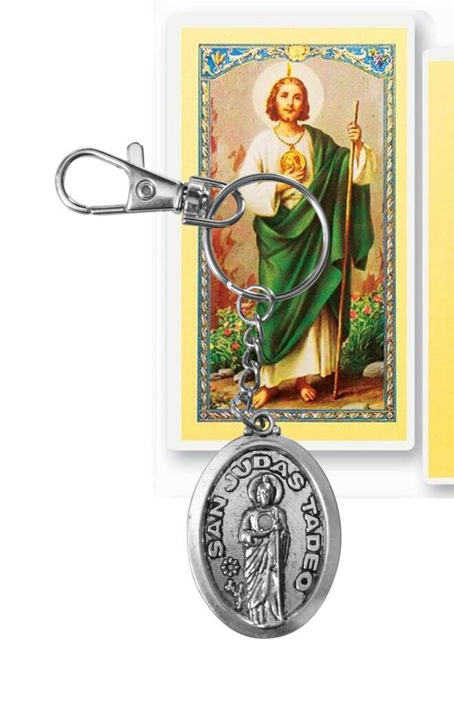 Saint Jude San Judas Stainless Steel Acero Inoxidable Key Chain Llavero Prayer Card Tarjeta  (SPANISH)