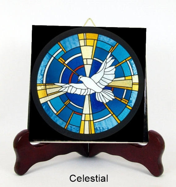 The Holy Spirit Porcelain Tile Plaque Ready for Hanging two styles  T286+HC213