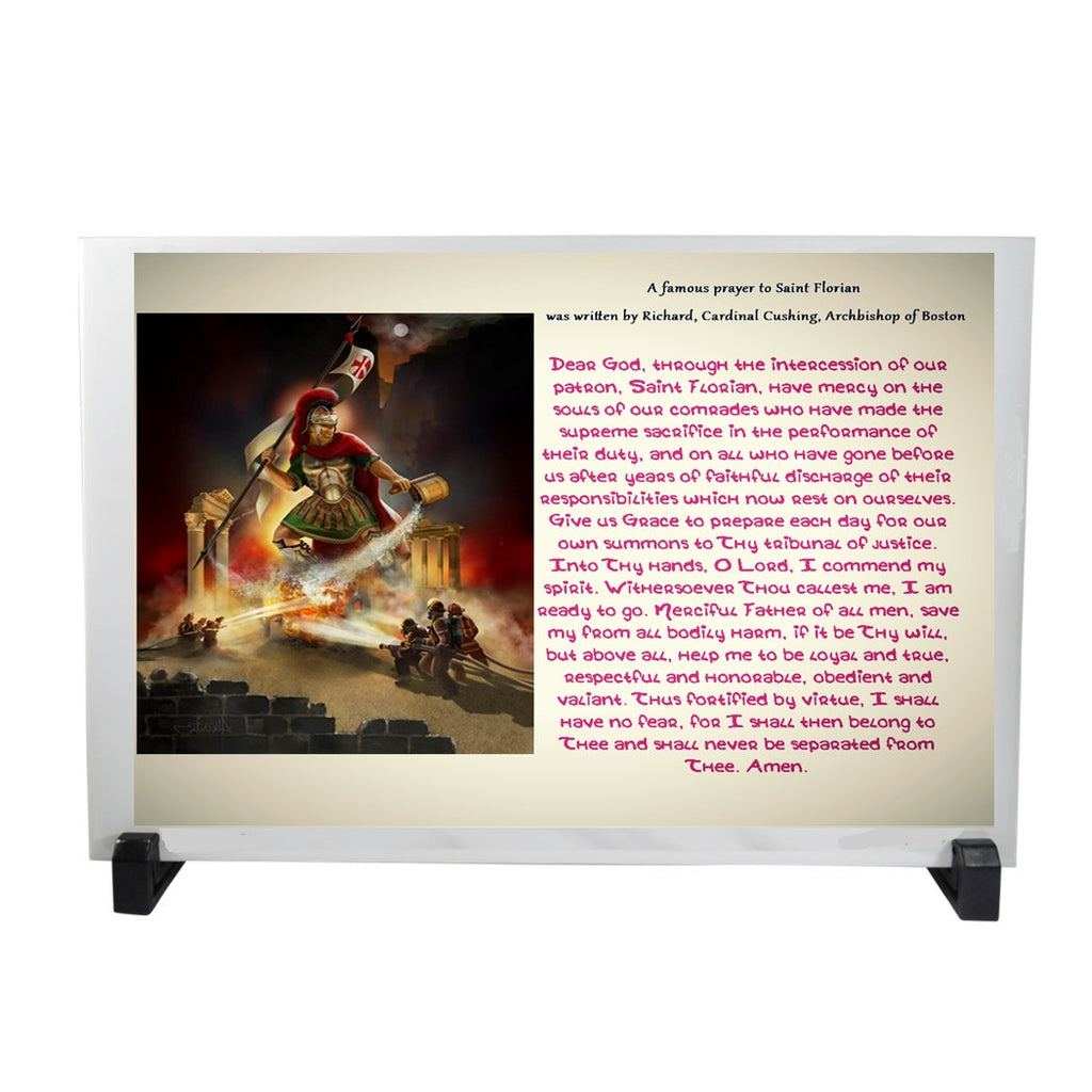 Saint Florian Saint of Fire and Water Patron of Firefighters 12 x 8 Porcelain Tile Plaque Altar Includes Easel and a Laminated Holy Card