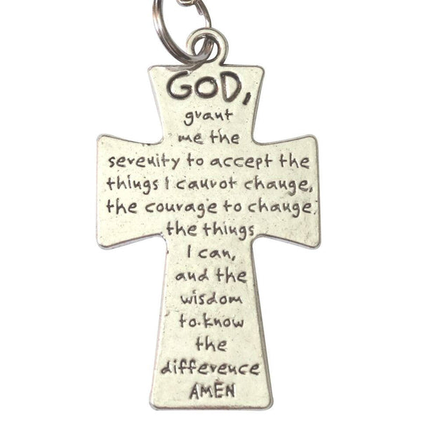 Serenity Prayer Silver Plated Four Way Cross Key Chain Zipper Pull with Etched