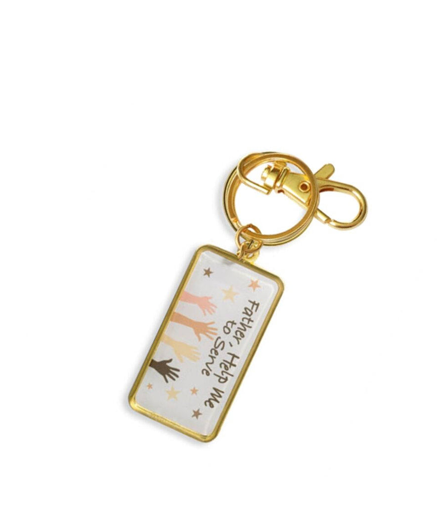 Inspirational Plaque Father Help Me to Serve Gold Tone Rolled Steel Key Chain with Color Image