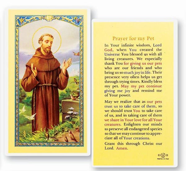 Saint Francis of Assisi Prayer for My Pet Porcelain Tile Plaque Altar Included Candles and Blessed Prayer Card