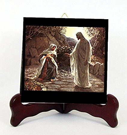 "Jesus and Mary Magdalene ""Woman, why are you crying? Contemporary Porcelain Plaque for Hanging Interior Exterior Available in Two Sizes 6X6"