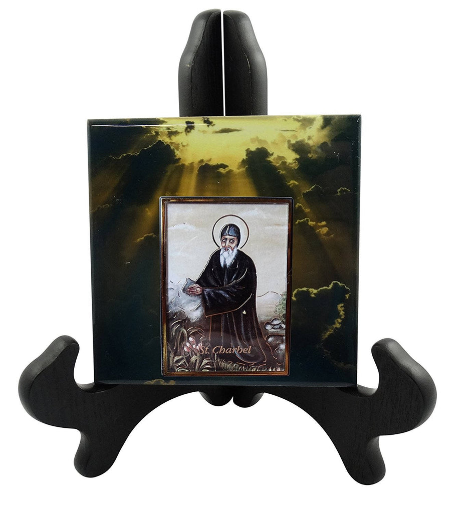 Saint Charbel Makhlouf Contemporary Style Porcelain Tile Plaque with a Moulded Embossed Print Frame in center Ready for Hanging