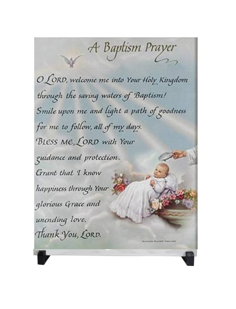 Baptism Prayer 12 x 8 Porcelain Tile Plaque Altar Includes Easel and a Guardian Angel Card with Gold Accent