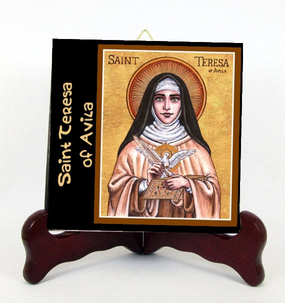 Saint Teresa of Avila Mystic Philosopher Porcelain Tile or Altar Ready for Hanging  or for Display with Easel included (6 X 6)