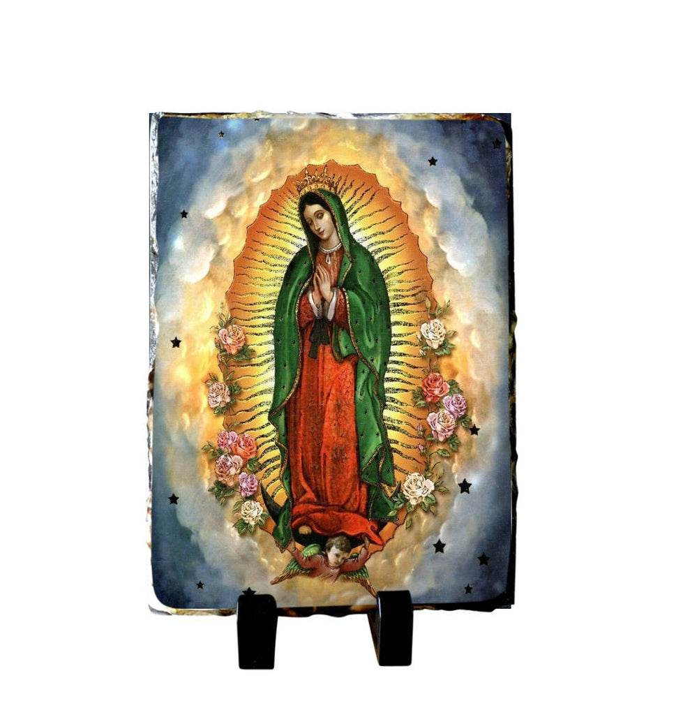 Guadalupe Altar Made of Slate 100% Handmade includes Holy Card in English or Spanish