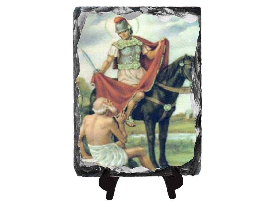Saint Martin of Tours Patron of Horses Soldiers and South Africa San Martin Caballero Slate Stone Plaque Altar