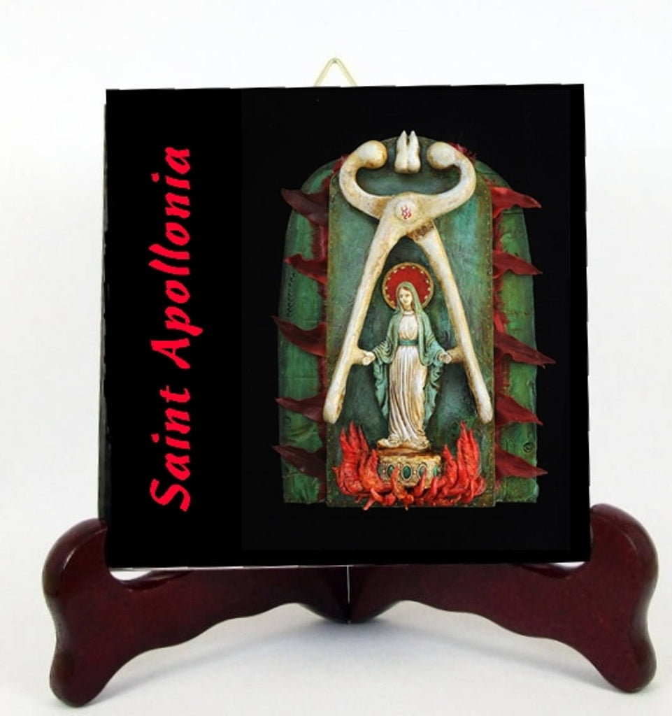 Saint Apollonia Patron of Dentists  Porcelain Tile Plaque or Altar Ready for Hanging Interior Exterior or for Display with Easel included