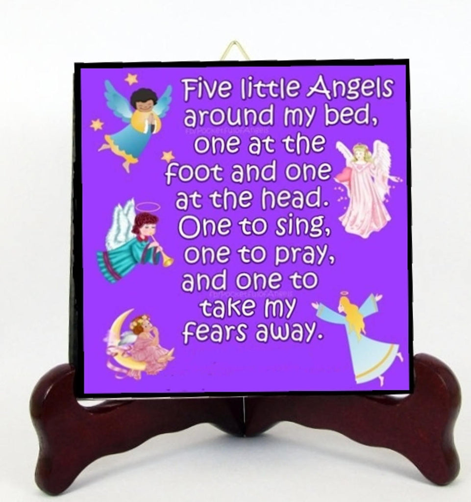 Five Little Angels Children Prayer Tile Plaque Ready for Hanging Interior Exterior or for Display with Easel included