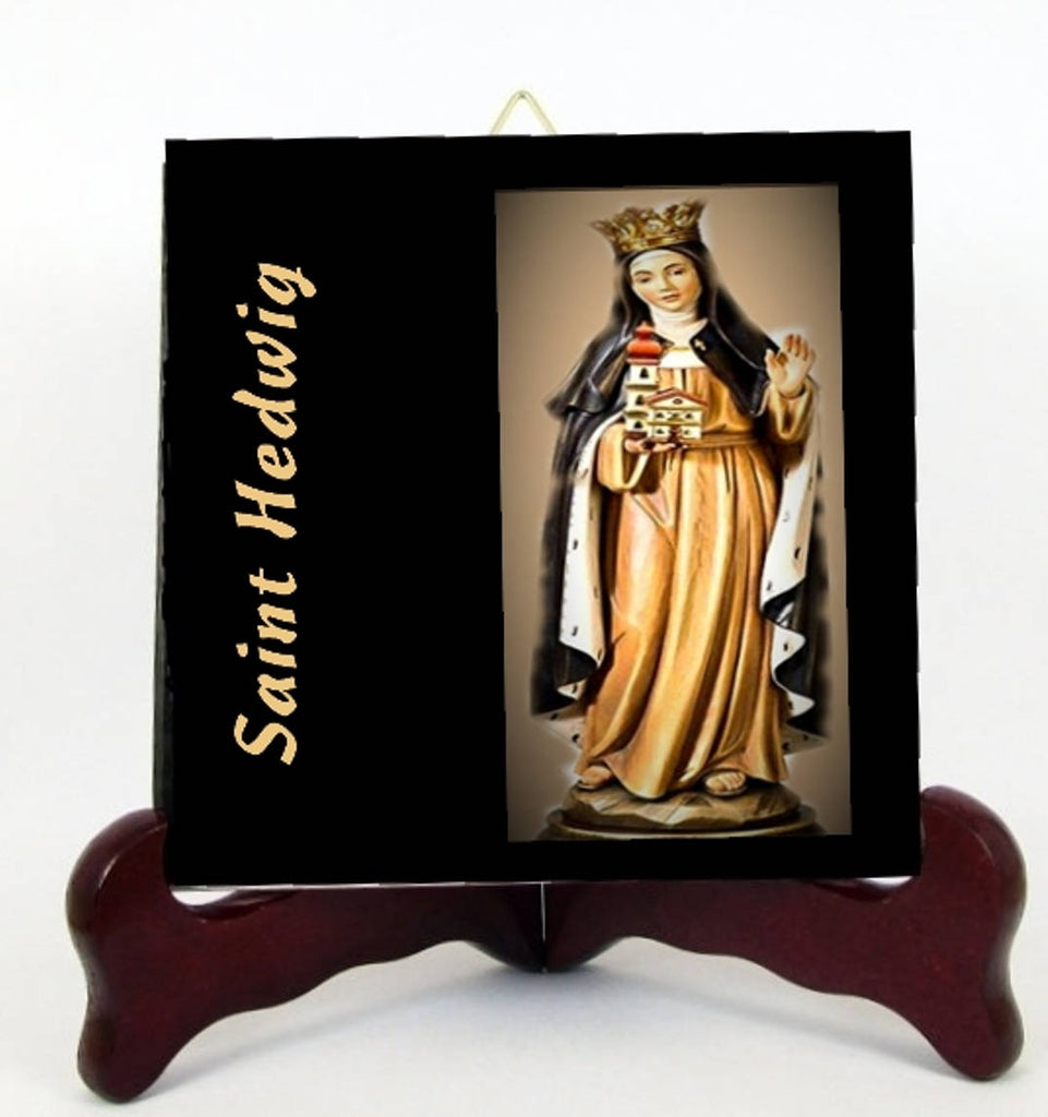 St Hedwig Saint Hedwig of Andechs Patron of Berlin Porcelain Tile Plaque  Altar Ready for Hanging Interior Exterior  Display  Easel included