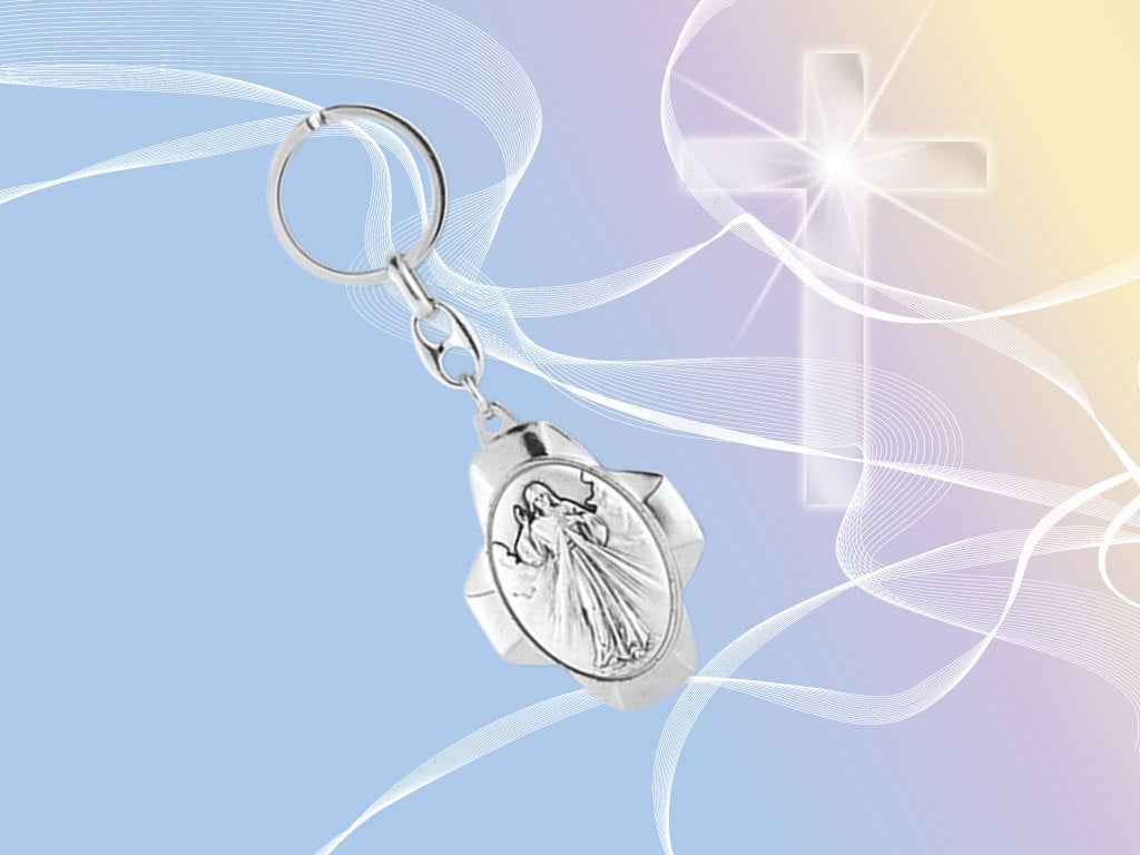 Divine Mercy Key Chain zipper pull hang on your purse rear view mirror etc (KC-112)