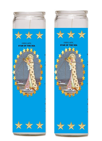 Star of the Sea Stella Maris 2 Candle Set with Prayer in the Back