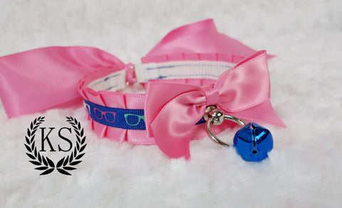 Pink and Blue Sunglasses Skinny Kitty Collar