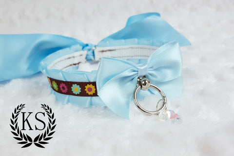 Light Blue Crystal Floral Skinny Kitty Collar