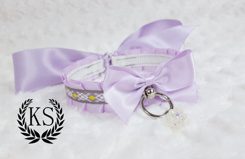 Lavender Crystal Bead Skinny Kitty Collar