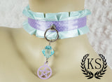 Light Blue and Purple Pentagram Thick Little's Collar