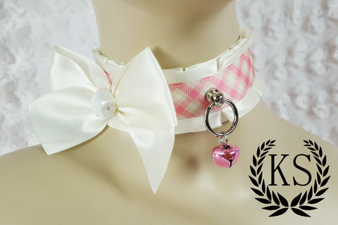 Pink and Ivory Bowed Thick Little's Collar