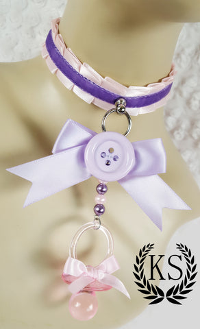 Pink and Lavender Button Paci Skinny Kitty Little's Collar