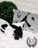 Monochrome Large Bow Skinny Kitty Collar