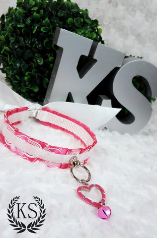 Pink and White Heart Skinny Kitty Collar