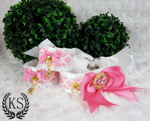 White and Pink Baroque Jeweled Bow Thick Collar and Cuff Set