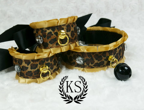 Gold Leopard Black Bell Thick Collar and Cuff Set