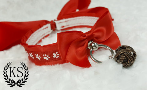 Red Paw Print Skinny Kitty Collar