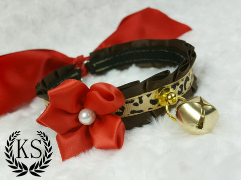Leopard Red Satin Flower Skinny Kitty Collar