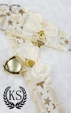 Cream Starred Thick Collar and Cuff Set