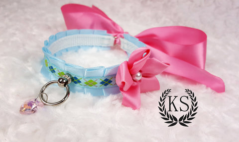 Light Blue and Hot Pink Satin Flower Skinny Kitty Collar